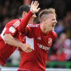 Matt Ritchie celebrates his goal last night