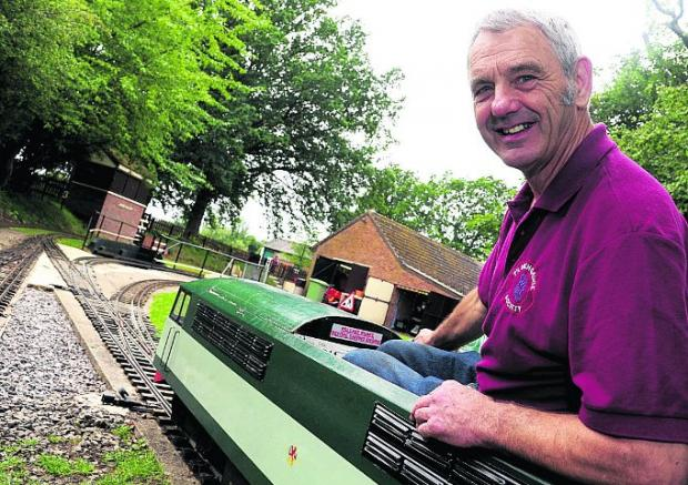 Volunteer Ian Dixon at the miniature railway
