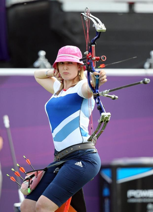 Danielle Brown shoots during the women's individual compound final