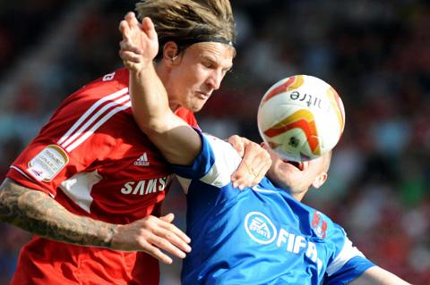 Swindon Town's Aden Flint in action against Leyton Orient