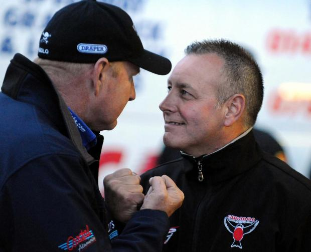 FRIENDLY FIRE: Alun Rossiter, right, and Poole boss Neil Middleditch ahead of last night's meeting