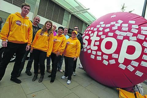 The Stoptober roadshow is in Swindon. Pictured are Becky Mellars, Dan Pirie, Bev Cox and Sophie Green with Nick Sheppard, Louise Derwatt and health ambassador Peter Kent
