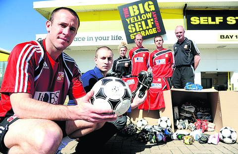 Jon Holloway, Eren Yorukoglu, Beth Thompson, Tim Hall, Luke Sharps and Clive Maguire prepare to send kit to Zambia