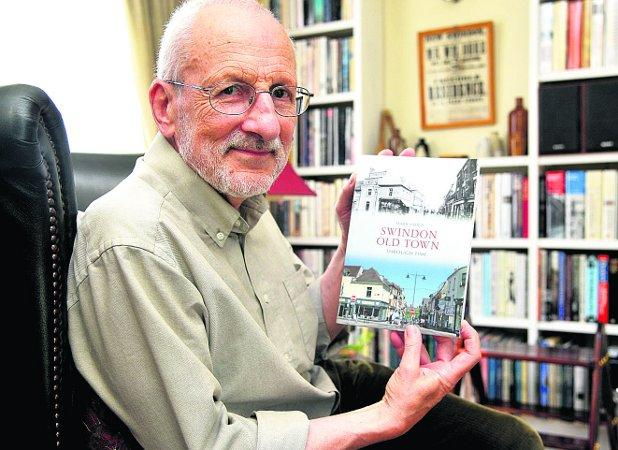 HISTORY man Mark Child with his book Swindon Old Town Through Time. Inset top, Victoria Hill in the 1940s, below the  Town Gardens in the 1920s Picture: JAMES DOUGLAS