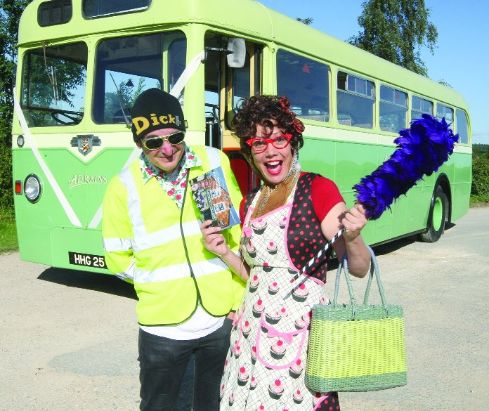 Time to rhyme Hilda Seehan and Michael Scott promoting the poetry festival bus tour next month with a bus from AD Rains Coaches, Brinkworth        Picture: STUART HARRISON