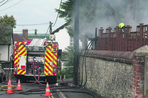 Fire brings down power cables