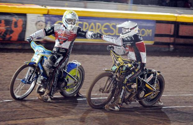 TWO GOOD: Jason Doyle, left, and Peter Kildemand celebrate a maximum in heat three at Birmingham