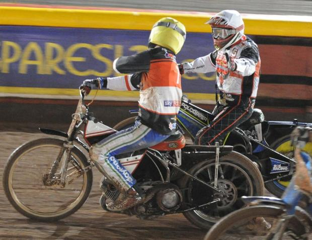 Swindon Advertiser: EASY DOES IT: Troy Batchelor and Dakota North, one and two in heat four