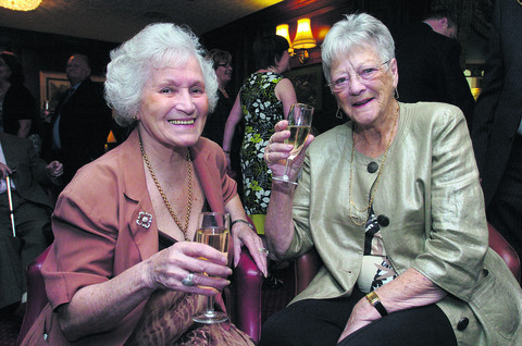 Doreen (right) at the anniversary of the Blunsdon House Hotel in 2010, with Mollie Tanner
