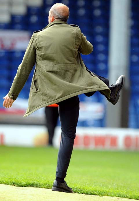 Swindon Town boss Paolo Di Canio on the touchline at Gigg Lane on Saturday