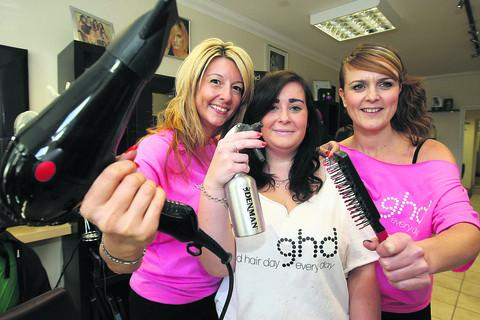 Sallyanne Murphy, Amy Hutt and Amanda Roberts from Fazes hair salon