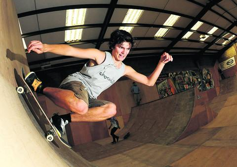Zak Frewin at the new indoor skate park