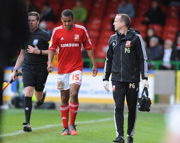 OUT OF ACTION: Nathan Thompson limps off on Saturday