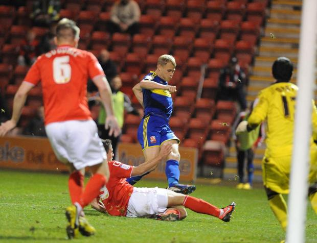 Swindon Advertiser: WASTED CHANCES: Jay McEveley fails to find a way through against Crewe