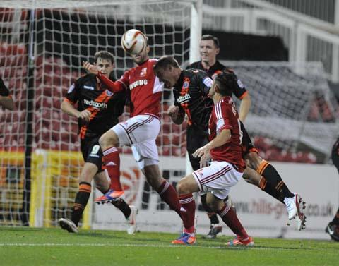 Swindon Town's Gary Roberts in action last night against Sheffield United