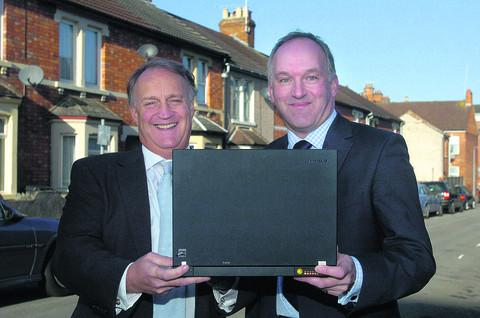 Council leader Rod Bluh, right, and Rikki Hunt of Digital City UK at the company's launch in 2009