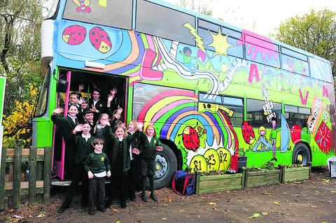 Lawn Primary School has turned an old Thamesdown Transport double decker into a playbus
