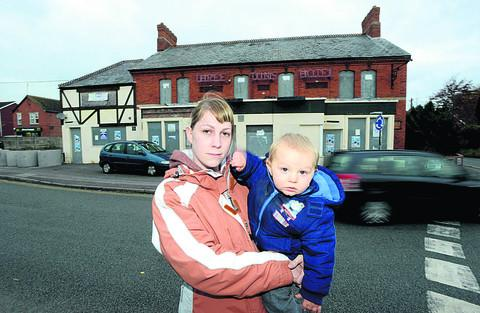 Toni Harper with her son William. Toni is concerned about the development of Wroughton's Three Tuns pub