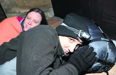 Heather Card, left, and Emma Bushell during last year's sleepout at Immanuel United Reform Church