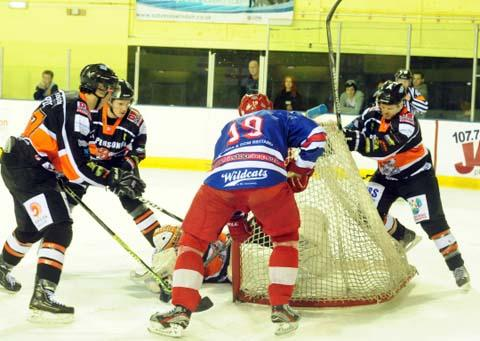 Aaron Nell scores for Swindon Wildcats against Telford on Saturday night