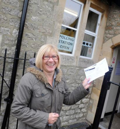 One of the few casting votes: Sharon Squires at Blunsdon Community Centre  Pictures: Siobhan Boyle