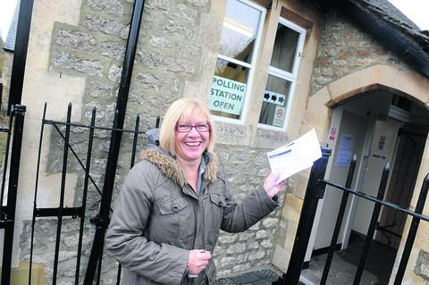 Sharon Squires casting her vote at Blunsdon Community Centre