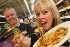 Asda staff Rob Maddock and Sue Page with the Chicken Jahmene