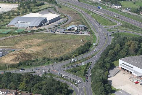 An aerial view of the junction