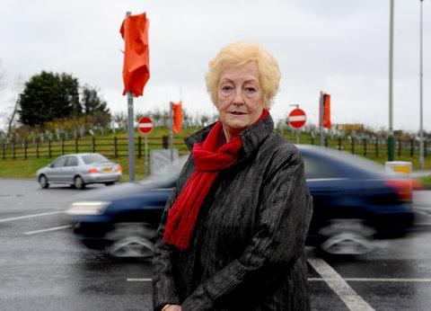 Coun Vera Tomlinson at the junction where the traffic lights are not working