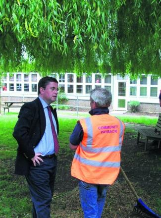 South Swindon MP Robert Buckland visiting a Community Payback project in Swindon