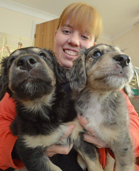 Hannah Taylor with two of the pups