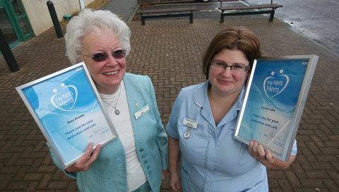 Beryl Bowles and Donna Lake with their NHS awards