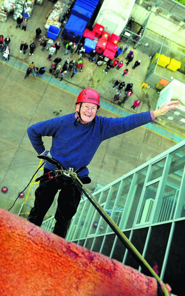 David Cummings does his abseil