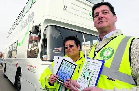 Anti-social behaviour adviser Simon Evans with Jane Dudley and the Wiltshire safety bus