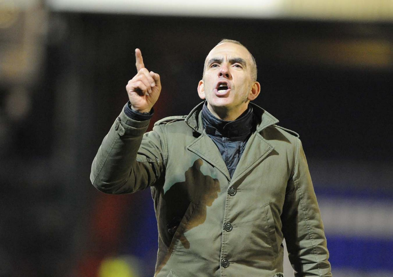 POINTING THE FINGER: Paolo Di Canio during the win at Oldham