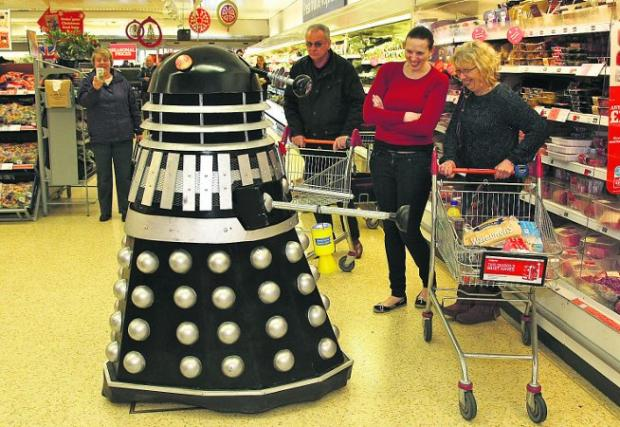 An unusual customer: a Dalek at Sainsbury's in Bridgemead on Saturday Pictures: Stuart Harrison