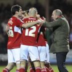 Swindon Town celebrate their win against Tranmere Rovers