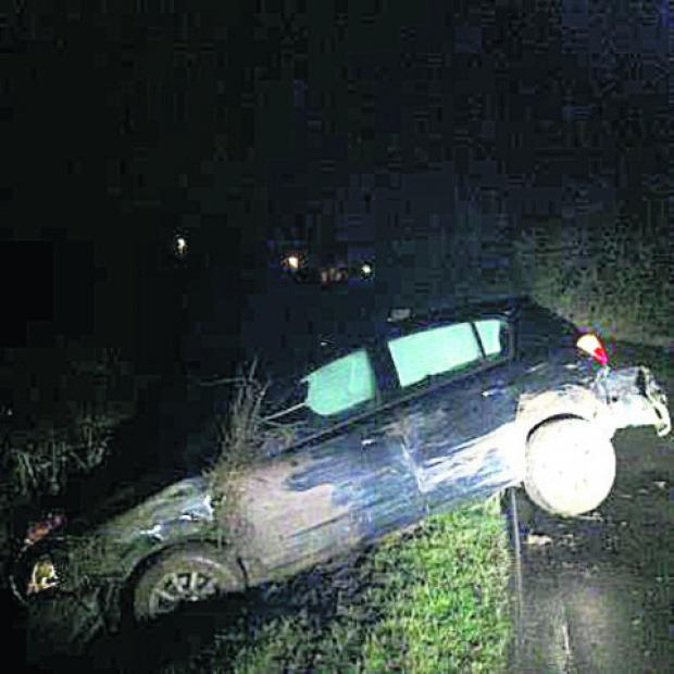 The drink driver's car is pulled from a ditch near Cricklade
