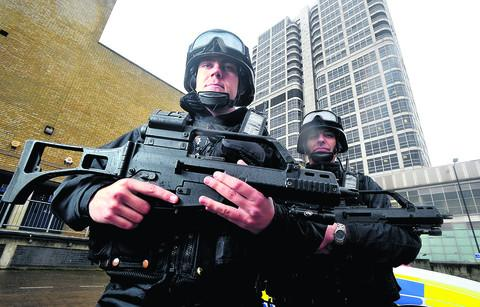 PCs Mark Field and Bob Lindsay of the Wiltshire Police Armed Response Team