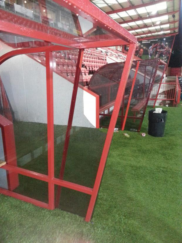 The broken away dugout at Dean Court