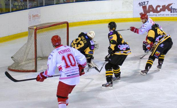 CONSOLATION: Jonas Hoog scores during Saturday's 6-2 defeat to Bracknell