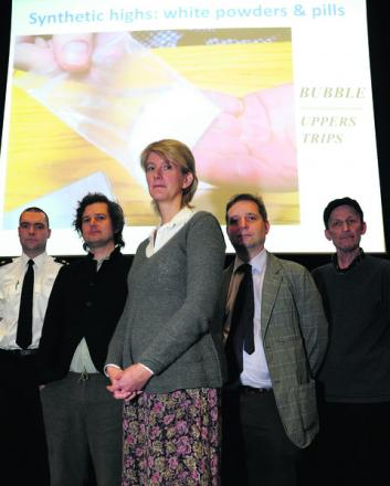 PC Paul Saunders, Professor Harry Sumnall, doctor Charlotte Kelly, doctor Steven Haigh and doctor Russell Newcombe at the recent legal highs seminar