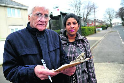 Swindon Advertiser: Paul Kumra, pictured with Dee Desa, has started a petition to restore the number 11 bus route