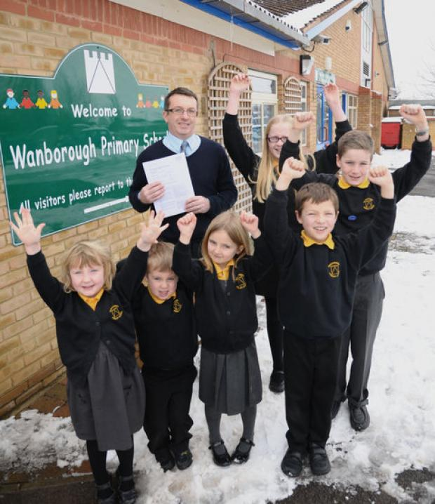 Headteacher Andrew Drury and some of the school's pupils
