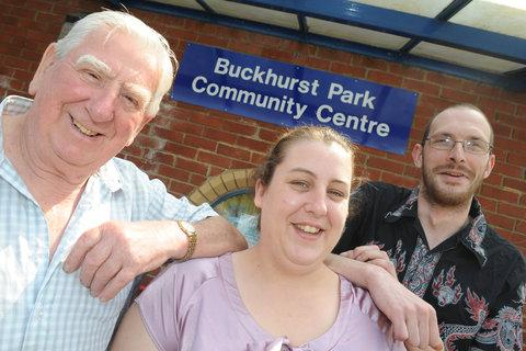Buckhurst Park Community Centre chairman Sharon Oldacre, with members of her original team, Roy Baker and Stephen Turner-Powell