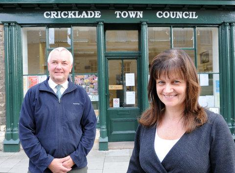 Shelley Parker with Bob Jones, chairman of Cricklade Business Association, outside the Cricklade Town Council office