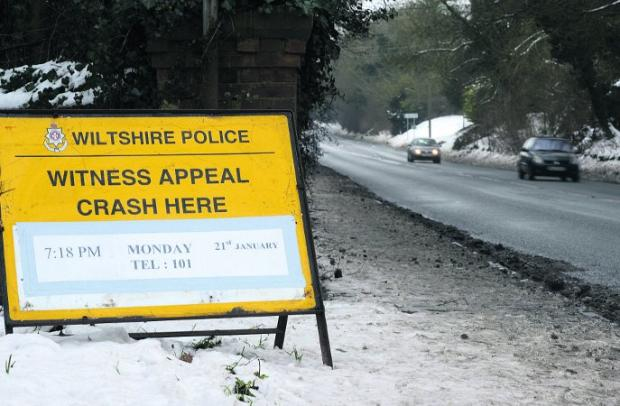 Scene of the accident The police sign appealing for witnesses to the crash      Picture: THOMAS KELSEY
