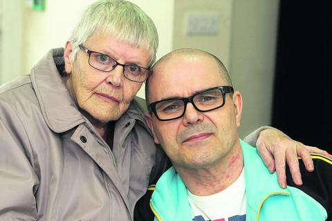 Neil Bustin, who is suffering from MS, with his mother Pam Edwards