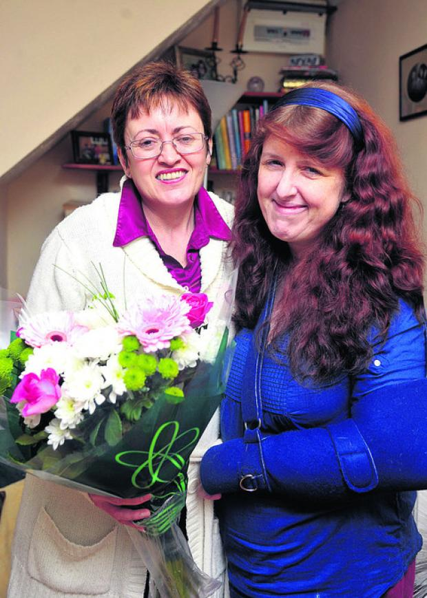 Sharon Davies, right, with Jacqui Bayford, who helped her after she broke her arm
