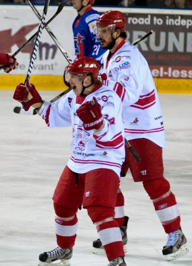 Henri Sandvik, left, was on the scoresheet against Peterborough tonight